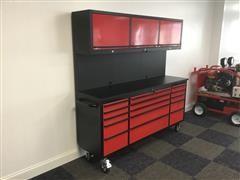 "2021 Siebel 72"" 15 Drawer Tool Chest Work Bench W/Upper Cabinets"
