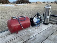 Master Mechanic Bench Grinder, Air Tank & Fire Extinguisher