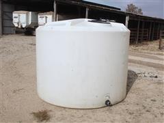 Flat Bottom Dome Top Poly Storage Tank W/Valve