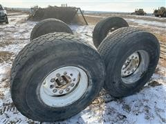 Bridgestone & Goodyear Super Single 445/65R22.5 Tires On Rims