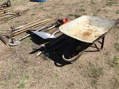 Handled Tools And Wheel Barrow