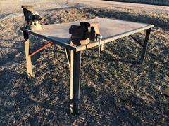 Shop Built Work Bench W/Vises