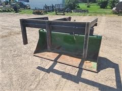 John Deere Loader Bucket & Shop Built Three Tine Grapple Fork