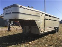 2001 Kiefer Built Deluxe II 7' X 24' T/A Gooseneck Livestock Trailer