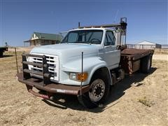 1996 Ford F800 S/A Gin Pole Truck W/Winch & Rolling Tailboard