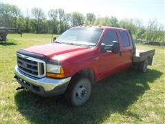 2001 Ford F350 4x4 4-Door Flatbed Dually Pickup