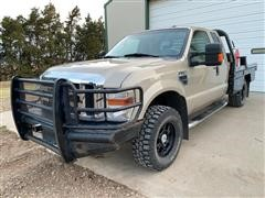2009 Ford F350 Super Duty 4x4 Extended Cab Flatbed Pickup W/DewEze Bale Bed