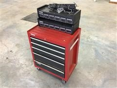 Craftsman Toolbox, Husky Storage Drawers, Tool Brackets, W/Makita Drill