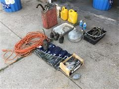 Gas Can, Oil Cans, Freon, Funnels, Extension Cords, Wrenches
