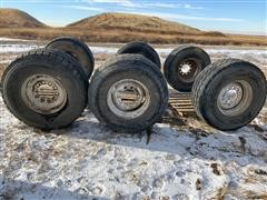 Bridgestone & Sumitomo Super Single 445/65R22.5 Tires On Rims