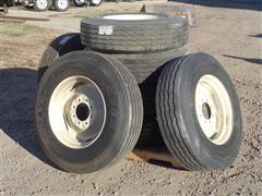 Goodyear /Firestone 295/75R22.5 Recapped Truck Tires W/Steel 8 Bolt Rims