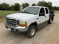 2000 Ford F250 Lariat Super Duty 4x4 Crew Cab Flatbed Service Pickup W/Toolbox & Air Compressor