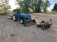 1999 New Holland TC33D 4X4 MFWD Loader Tractor W/Rotary Mower & Disk