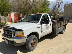 1999 Ford F350 4x4 Flatbed Dually Pickup