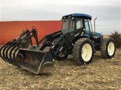 1998 New Holland TV140 4WD Bi-Directional Tractor W/Loader & Grapple