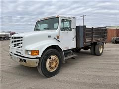 1997 International 4700 S/A Flatbed Truck W/Side Gates & Tommy Lift