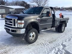 2008 Ford F350 4x4 Dually Flatbed Pickup W/Deweze Bale Bed