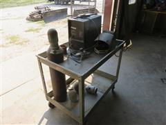 Millermatic 130 115V Wire Welder W/Cart, Tanks, Gauges & Helmet