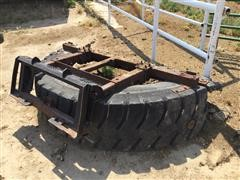 8' Rubber Feed Pusher Skid Steer Attachment