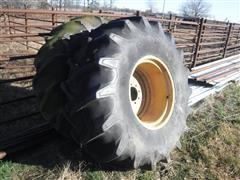 Firestone All Traction Field & Road 23.1x26 Bar Tires On 8 Bolt JD Wheels