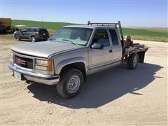 1999 GMC Sierra K2500 4x4 Extended Cab Pickup W/Deweze 660 Bale Bed