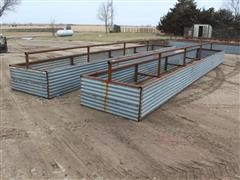 Shop Built Pipe Frame Feed Bunks W/Center Support Pipe