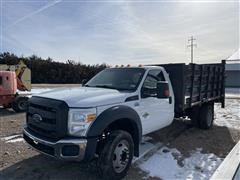 2014 Ford F550 Flatbed Truck W/Stake Sides & Tommy Lift (INOPERABLE)