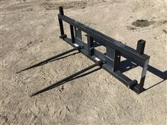 Worksaver Double Bale Spear Skid Steer Attachment