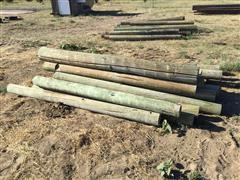8' Green Treated Wooden Fence Post