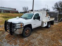 2011 Chevrolet Silverado K3500HD 4x4 Flatbed Service Truck W/Crane