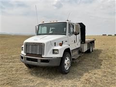 2000 Freightliner FL80 T/A Crew Cab Flatbed Truck