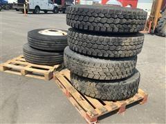 Michelin & Bridgestone 11R22.5 Tire & Rim Assemblies
