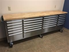 """2020 Siebel 96"""" Stainless Steel Work Bench 24 Drawer Tool Chest On Wheels"""