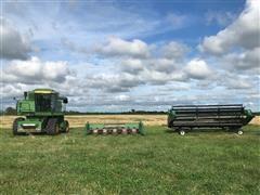 John Deere 6620 Turbo Combine, 643 6 Row Corn Head, 20' 920 Grain Platform And Head Trailer