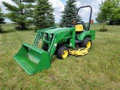 2004 John Deere 2210 MFWD Utility Tractor W/Loader & Mower Deck