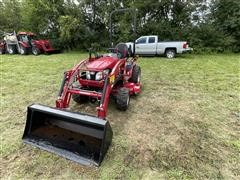 2017 Mahindra Emax22L 4WD Compact Utility Tractor W/Loader & Mower