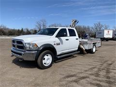 2014 Ram 5500 Heavy Duty 4x4 Crew Cab Flatbed Service Truck W/Crane