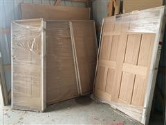 Group Of Solid Oak 6 Panel Interior Doors