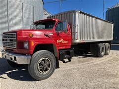 1987 Ford F800 T/A Grain Truck W/aluminum Box