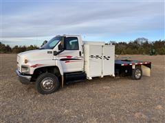 2005 GMC C6500 S/A Flatbed Service Truck W/Auto Crane