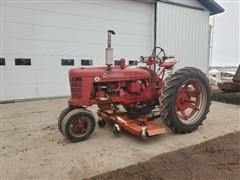 "Farmall Super H 2WD Tractor W/72"" Arts Way Belly Mower"