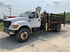 2002 Ford F750 Super Duty S/A Stake Truck W/Knuckleboom & Tommy Lift
