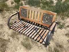 Metal Frame Wood Seat Swing