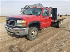 2003 GMC K3500 4x4 Dually Flatbed Truck