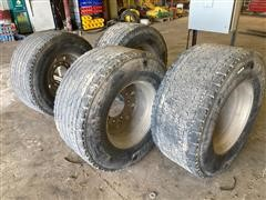 Michelin 455/55R22.5 Super Single Tires On Aluminum Rims