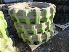 Rhino Gator Solid Core 11.2 X 38 Poly Center Pivot Wheels On 8 Bolt Rims