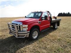 2008 Ford F350XLT Super Duty 4x4 Flatbed Pickup W/2016 DeWeze 679 Pivot Bale Bed