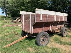 Wooden Flare Wagon W/ McCormick Seeder