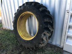 Goodyear Dyna Torque 20.8-38 Tractor Tire On John Deere Rim