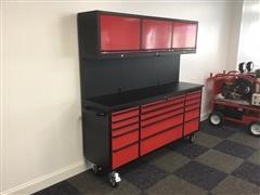 """2021 Siebel 72"""" 15 Drawer Tool Chest Work Bench With Upper Cabinets"""